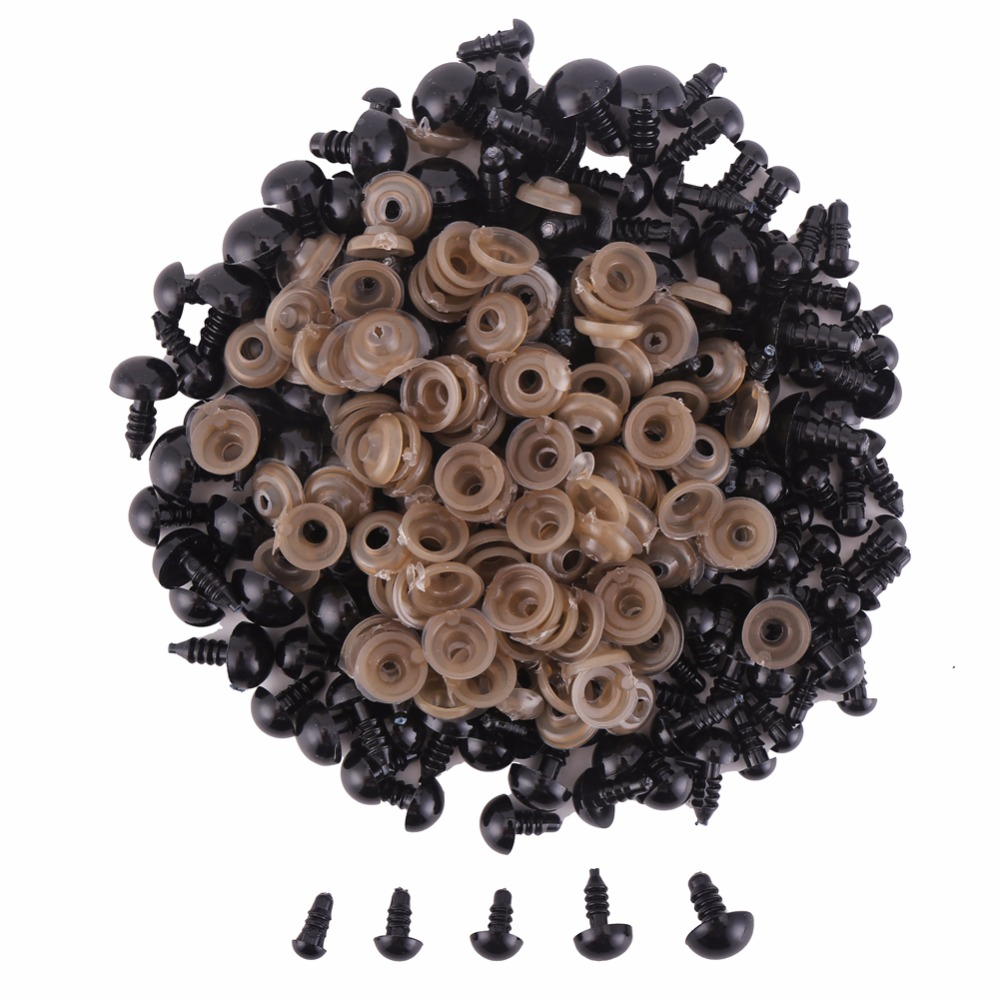 100PCs Black Plastic Doll Dyes Safety Eyes For Teddy Bear Stuffed Toys Snap Animal Scrapbooking Puppet Dolls Craft Eyes For Toys natural dyes for textiles