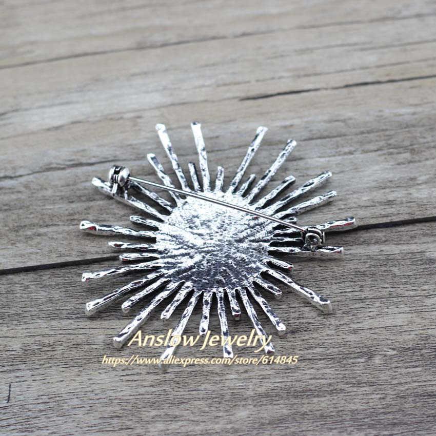 Anslow Baru Fashion Perhiasan Baru Desain Pesona Grosir Retro Bunga Matahari Wanita Bros Mantel Klip Kemeja Pin Aksesoris