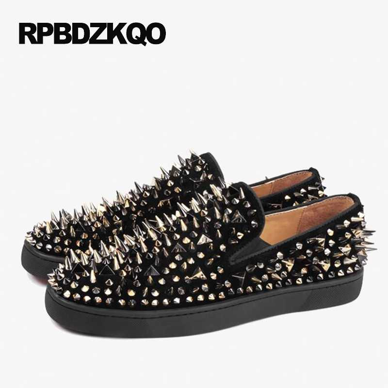 ... Shoes Spike Stud Men Designer Leather Loafers Black Nubuck Suede Spring  Luxury Rivet Runway Fashion Hot b9910b8fc95e