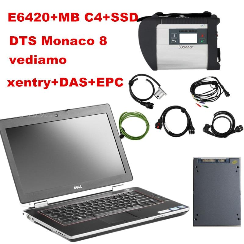 Prix pour MEILLEUR E6420 (I5 4 GB) + mb étoile c4 + SSD (240 GB) DTS Monaco 8 + vediamo + xentry + DAS + EPC Complète super ingénieurs AVEC win7 Système 64WIN