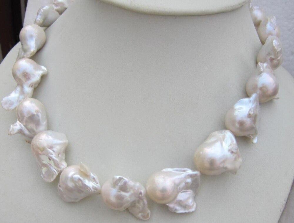 Énorme collier de perles BAROQUE blanc AAA 16-24 MM naturel mer du sud 18 pouces livraison gratuite