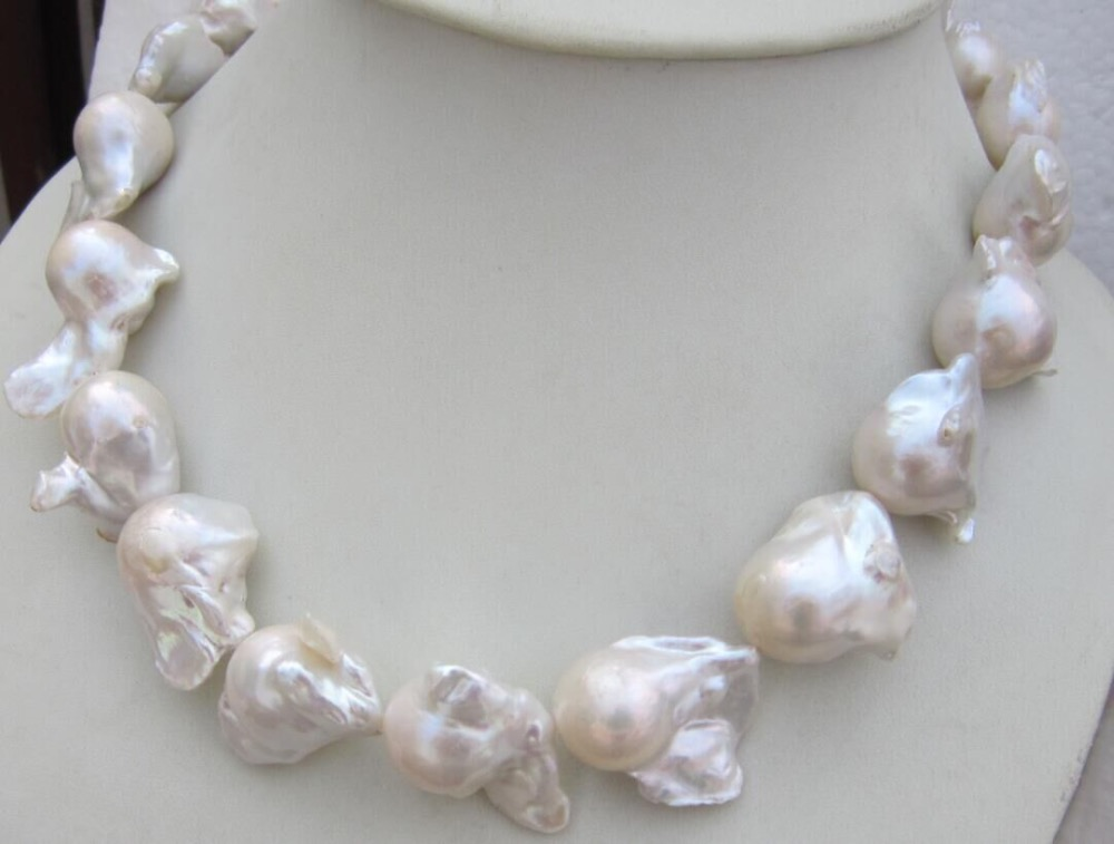 HUGE AAA 16-24MM NATURAL SOUTH SEA WHITE BAROQUE PEARL NECKLACE 18 INCH shipping free fast huge 12 13mm natural tahitian south sea white green pearl necklace 18 aaa