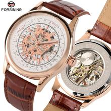 лучшая цена Stylish Skeleton Mechanical Watches for Men Stainless Steel Leather Band Casual Hand-wind Mechanical Watch for Teenagers