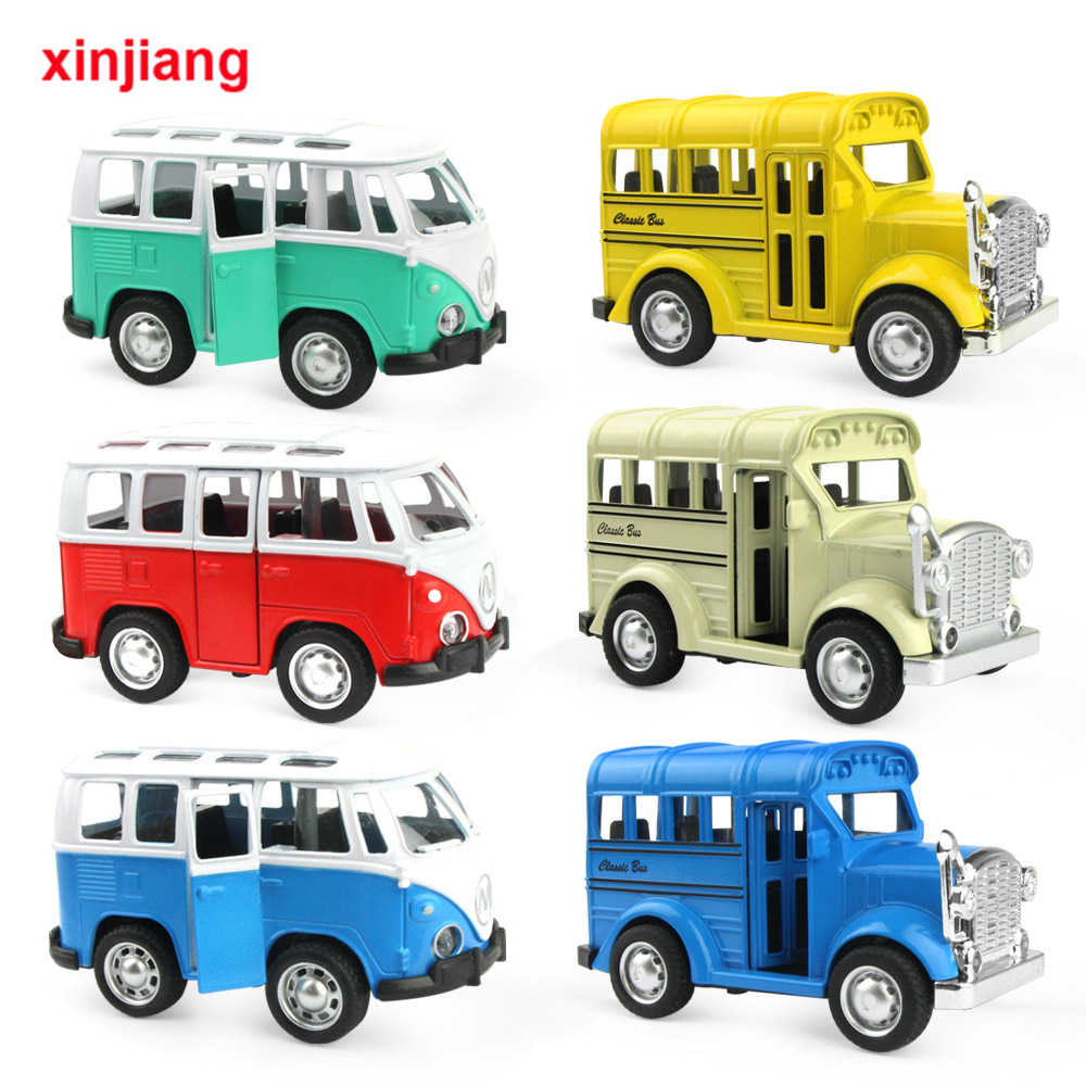 Mini Vintage Diecast Car School Bus Alloy Car Model Sliding Bus Toys Vehicles For Boys Flashing & Music Car Toys For Kids (