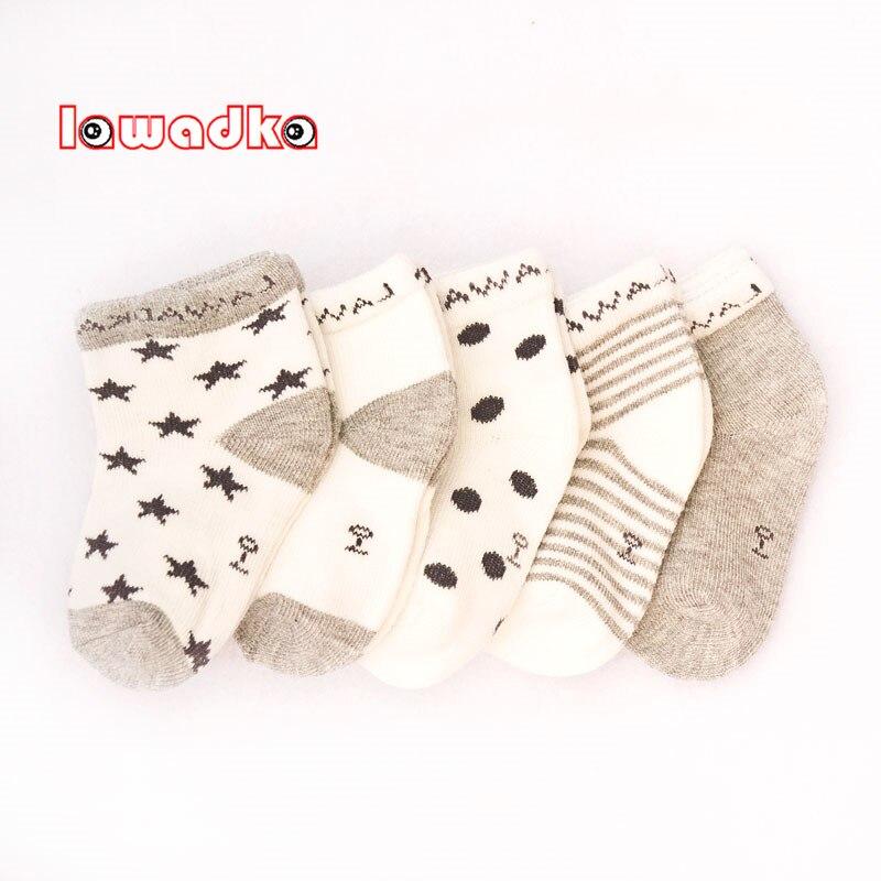 Lawadka 5Pairs/lot Striped Baby Socks Newborn Cotton Boys Girls Sock Cute Toddler Socks Size SandM