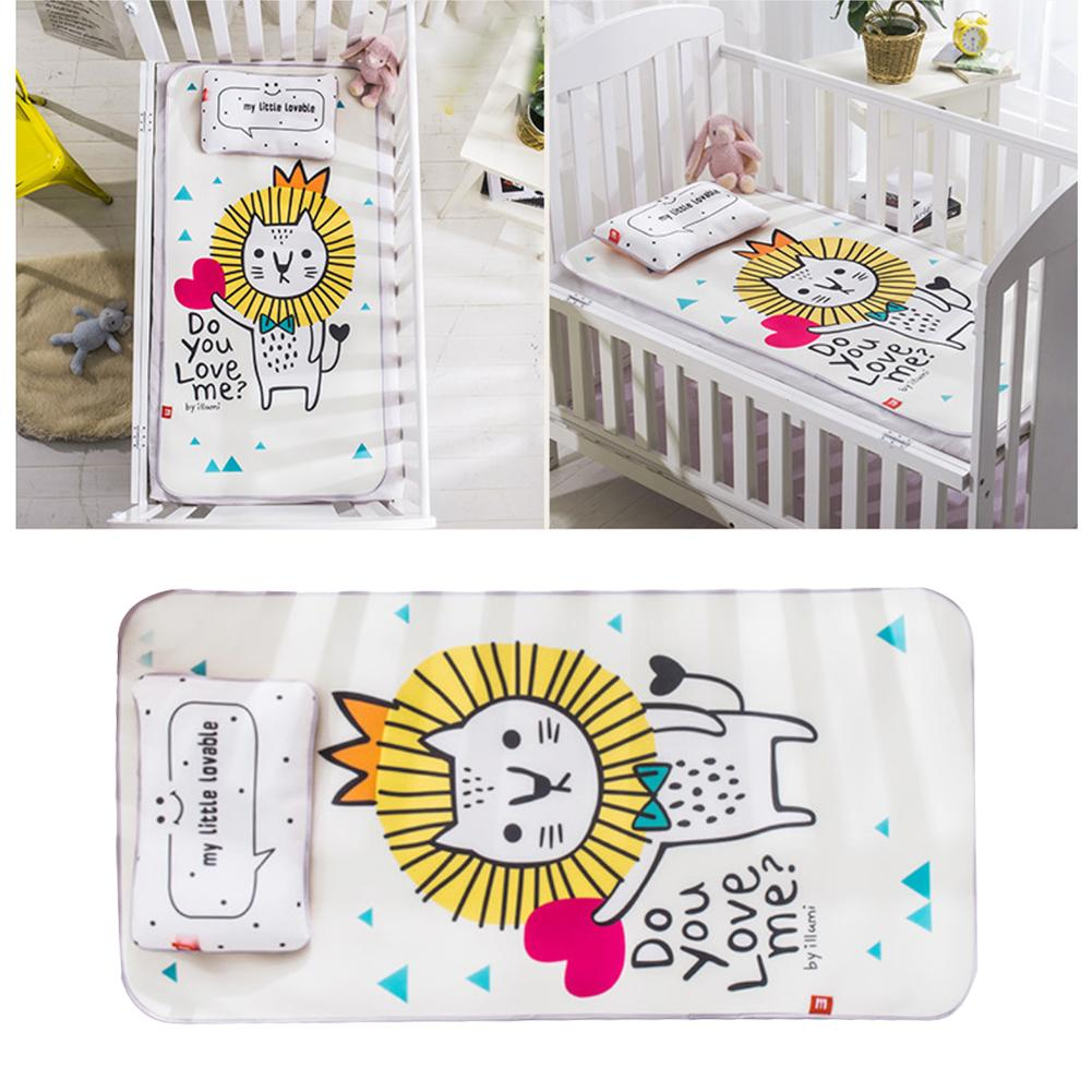 Baby Ice Silk Mat With Pillow Set Kindergarten Baby Mattress Cute Cartoon Crib