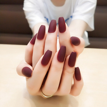 24Pcs Matte Burgundy Coffin False Nails Gray Pure Blue Black Nude Purple Full Nail Tips Pink Ballerinas Red Fake