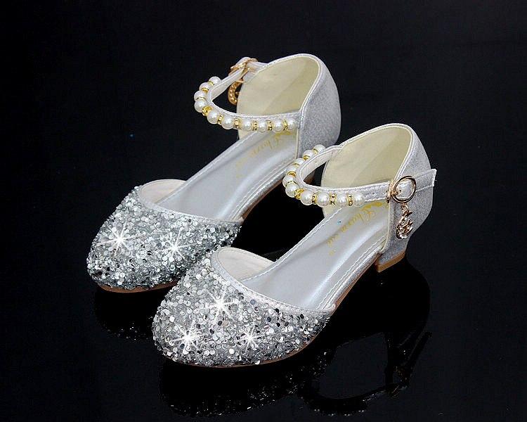 Crianças menina contas de cristal sapatos meninas
