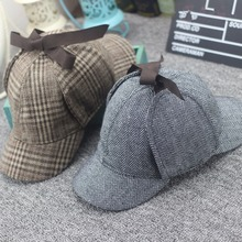 Venda quente Chapéu Sherlock Holmes Deerstalker Cap Tweed Filme Cosplay Detetive  Earflap Unisex Tampas Planas Novos Acessórios 874db769e87