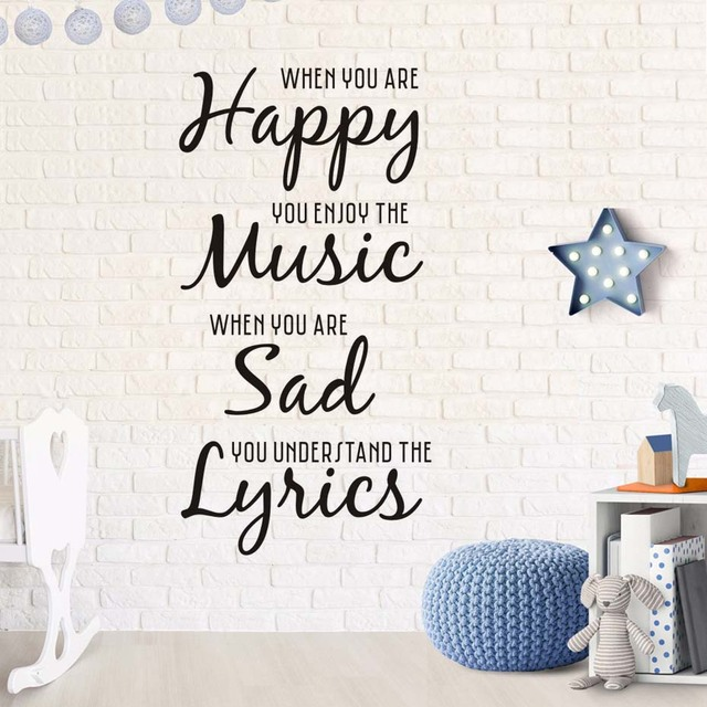 Happy Music Sad Lyrics Vinyl Art Wall Decal Removable Home Decor DIY ...