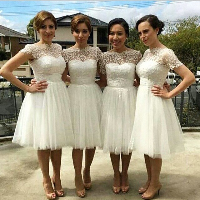Hot Short Maid Of Honor Dress White Princess Bridesmaid Dresses For Wedding Party Robe Demoie D Honneur Courte Bnd16 In From