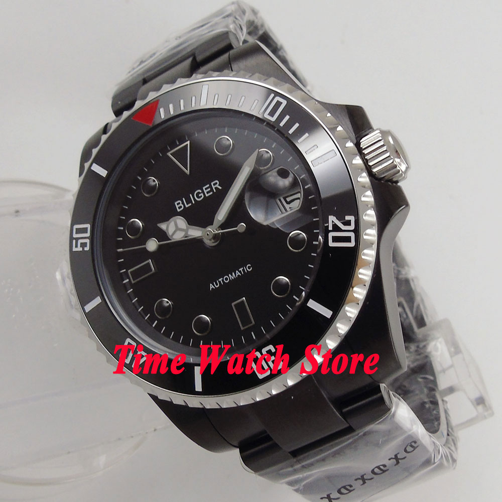 лучшая цена Bliger 40mm black dial luminous PVD case ceramic bezel sapphire glass Automatic men's watch men 166