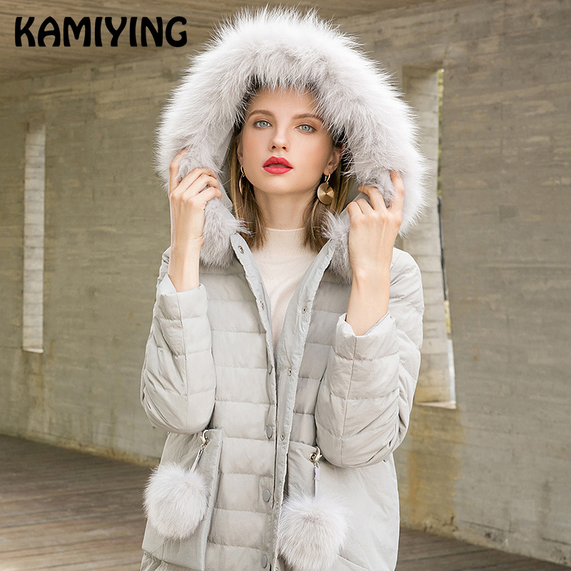 Kamiying Down Coat Feminine Mid Size 2018 Winter New Type Vogue Relaxed Temperament Woman's Pure Coloration Massive Hair Collar Pkhd723