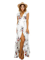 Irregular Lady Casual Slit Sexy V Neck Cap Sleeve Long Gown Flower Print Playa Sommer Dress