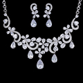 Classic Nobble Style Saphire Blue Zircon  Water Drop Shape Cubic Zirconia Jewelry Sets  for Women