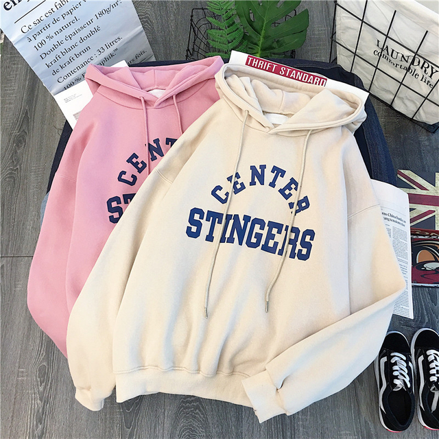 Zuolunouba High Street Knit Hooded Letter Lady Fleece Pullovers Ins Style Add Velvet Thick Sweater Women Autumn Winter Clothes 6
