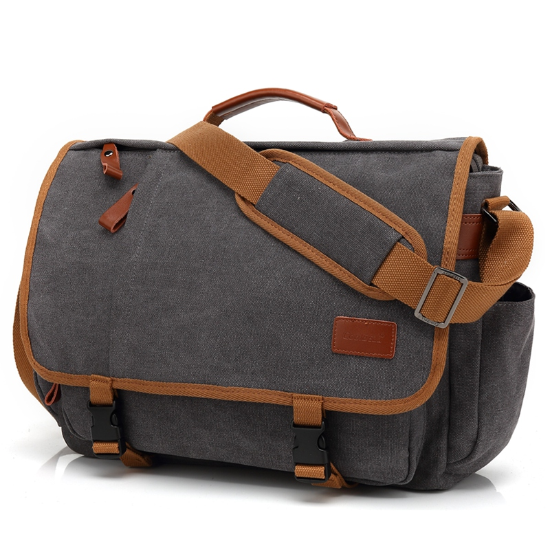 Retro dark grey canvas 15 15.6 laptop man shoulder bag Messenger bag for macbook PRO 15.4 17 17.3 computer handbag 5112-in Laptop Bags & Cases from Computer & Office    1