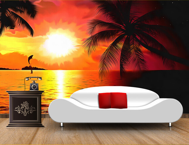 Aliexpress Com Buy Large Custom Mural Wallpapers Living: Aliexpress.com : Buy Custom Photo Wallpaper, Sunset Beach