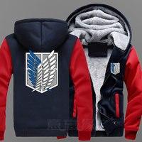 New Attack On Titan Hoodie Anime Jiyuu No Tsubasa Eren Jaeger Coat Jacket Winter Men Thick