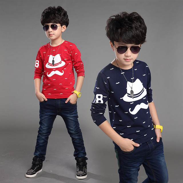 Children in the children's clothing boys long sleeve t shirt children's Korean autumn cartoon bearded child t-shirt t shirt