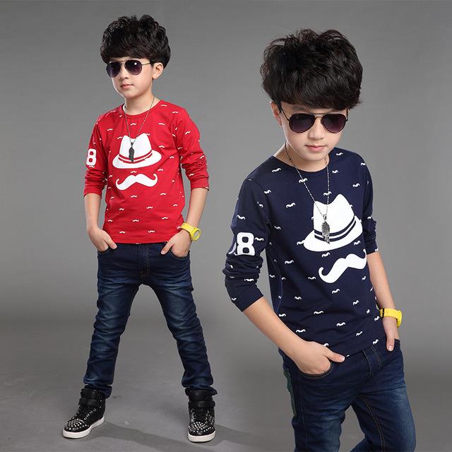 Crianças na roupa das crianças meninos camisa longa da luva t das crianças Coreano outono dos desenhos animados barbudo criança t-shirt t camisa