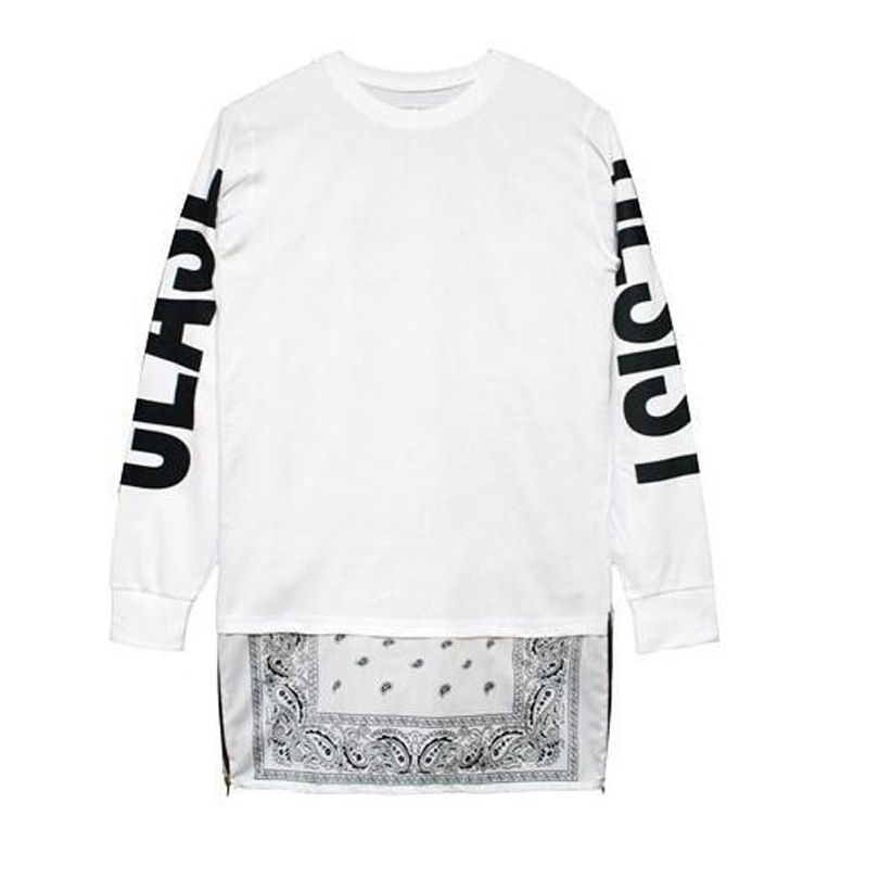 Cease desist bandana hip hop long sleeve bandana shirts side cease desist bandana hip hop long sleeve bandana shirts side zipper men design tee shirts extended shirt black white 2 colors in t shirts from mens altavistaventures Choice Image