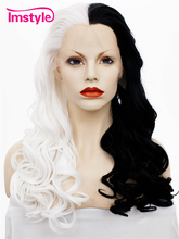 Imstyle Wavy Synthetic medio blanco y medio negro 24 pulgadas peluca de encaje frontal