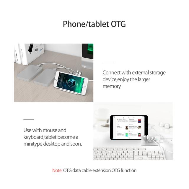 ORICO 5Gbps High Speed Mini 4 ports USB3.0 HUB Splitter for Desktop Laptop with Stand Holder for Phone Tablet PC – Black / White