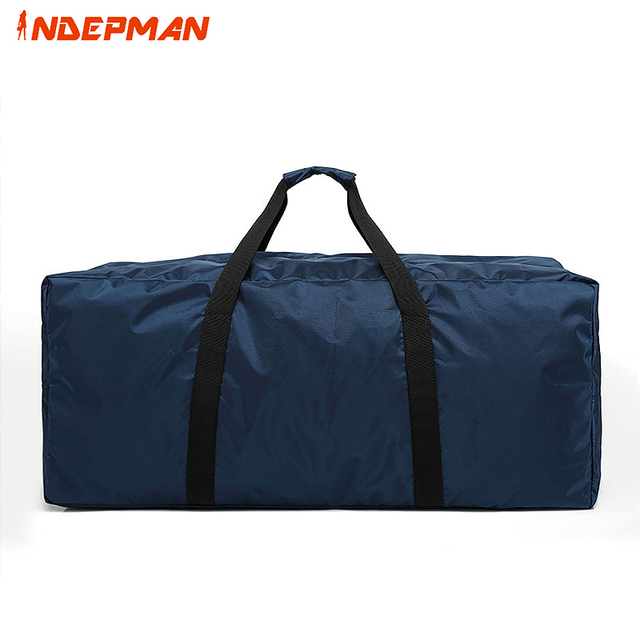 Waterproof Nylon Duffle Bag Women Solid Zipper Folded Travel Men Large Capacity Trolley Luggage Black