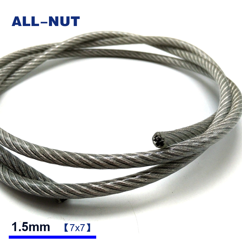 1,5mm Kabel Drahtseil 1,5mm 304 Edelstahl Transparent Farbe Kunststoff Beschichtung Draht Seil 7*7 50 Meter