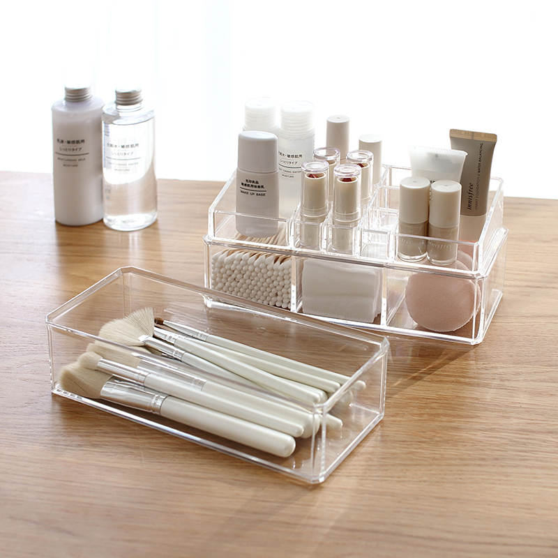 Portable Transparent Makeup Organizer Storage Box Acrylic