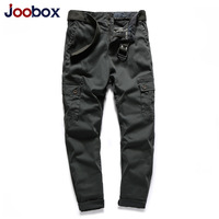JOOBOX Brand Mens Cargo Pants Cotton Slim Fit Men Casual Pants Fashion Fitness Streetwear Clothing Male Trousers Spring NO Belt