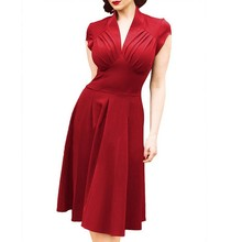 Solid Color Plus Size Dress Women Fashion Temperament Summer New A-line England Style V-neck Office Lady