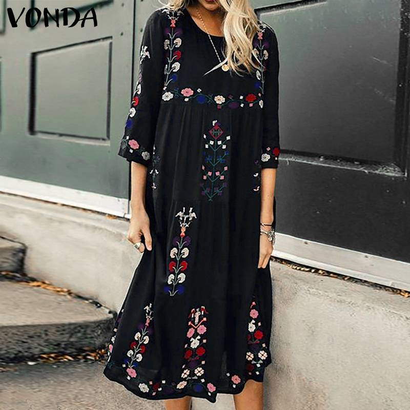 Bohemian Women Vintage Print Dress 2019 VONDA Sexy O Neck 3/4 Sleeve Maternity Dresses Plus Size Casual Loose Vestidos Femme