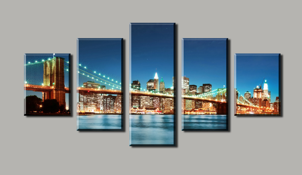 Unframed 5 Panels Beautiful Urban Construction Bridge Top-rated Canvas Print For Living Room Wall Art Picture Painting Artwork