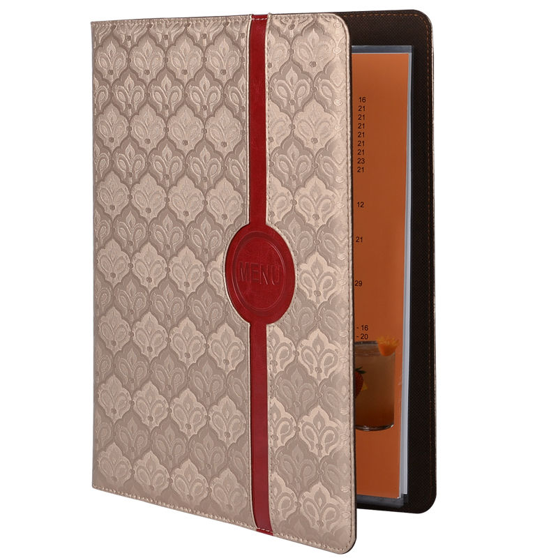 Gold Decorative Pattern PVC Leather Restaurant Menu Folder Smooth Water Oil Repellency Restaurant Bar Customized Order pu leather menu holder restautant menu covers custom leather folders pvc page with high quality accept customized order