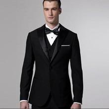 Black Fashion font b men b font font b suit b font Sets Jacket Pant vest
