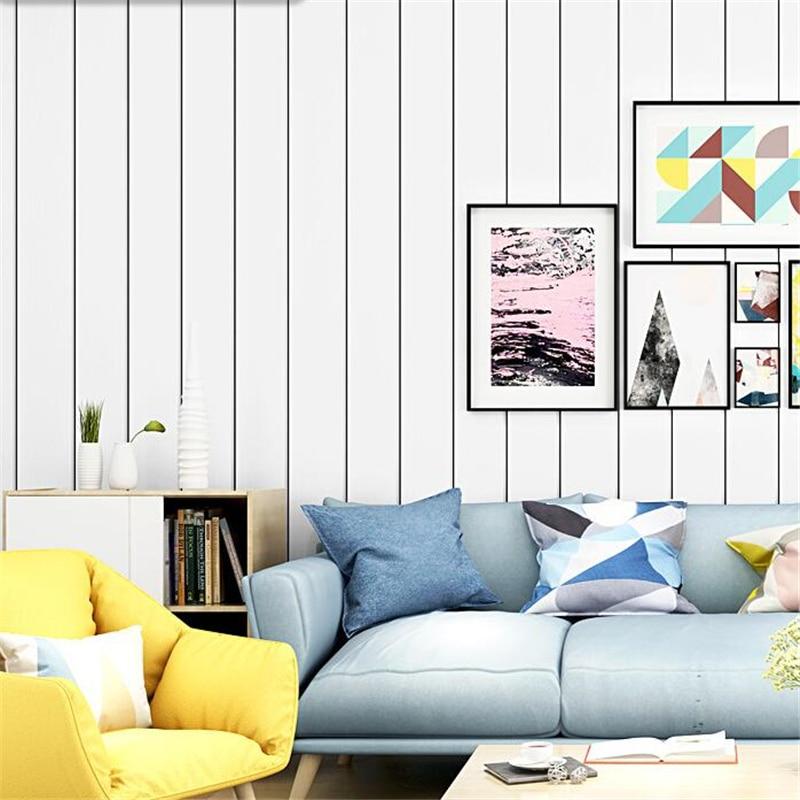 Beibehang papier peint style nordique blanc grain de bois imitation bois noir et blanc rayures verticales salon chambre papier peintBeibehang papier peint style nordique blanc grain de bois imitation bois noir et blanc rayures verticales salon chambre papier peint
