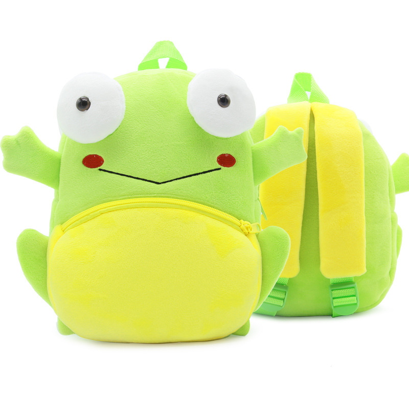 Cute Cartoon 3d Frog Plush Backpack Green Anime Animals Soft Mini Schoolbags Kids Toys Knapsack Birthday Gifts For 2-4 Years
