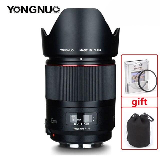 Objectif grand Angle YONGNUO YN35MM F1.4 pour objectifs de caméra reflex numérique à ouverture lumineuse Canon pour objectif Canon 600D 60D 5DII 5D 500D 400D