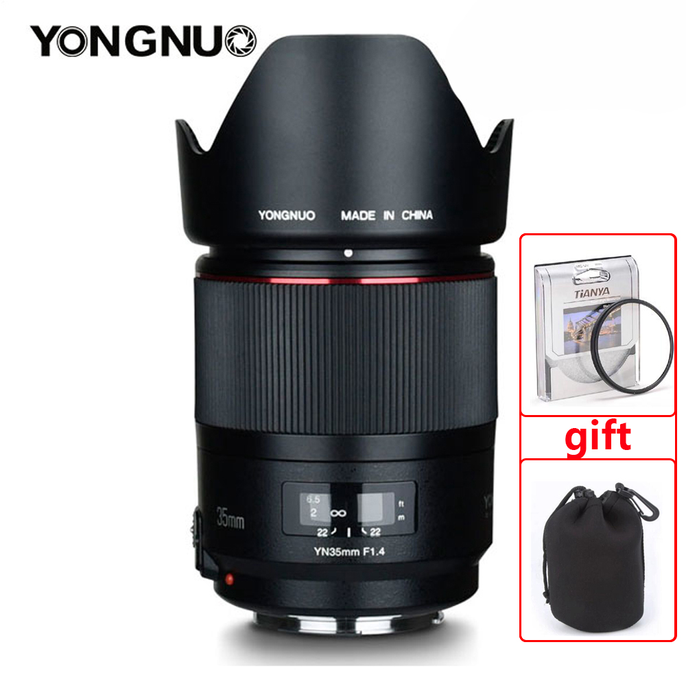 YONGNUO YN35MM F1.4 Wide Angle Lens for Canon Bright Aperture Prime DSLR Camera Lenses for Canon 600D 60D 5DII 5D 500D 400D lens-in Camera Lens from Consumer Electronics    1