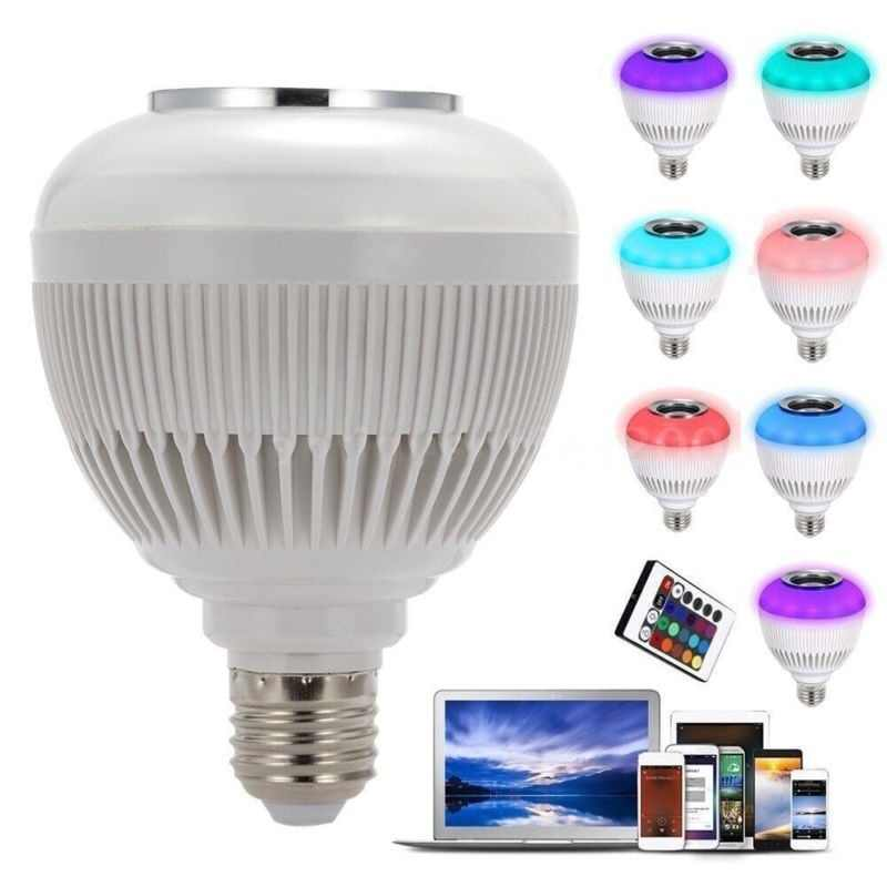LED Bulb Bluetooth Music Audio Speaker Stereo Bulb RGBW Music Playing Light Lamp IR Remote Control