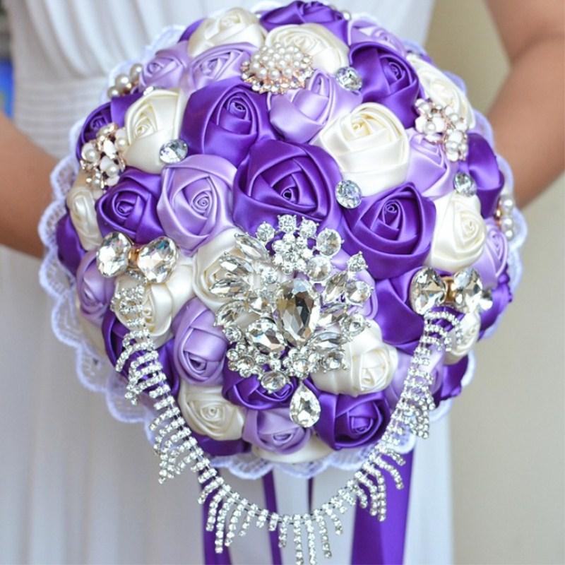 Ruban de Satin personnalisé à la main mariage mariée détient fleur cadeaux de noël en gros livraison gratuite - 2