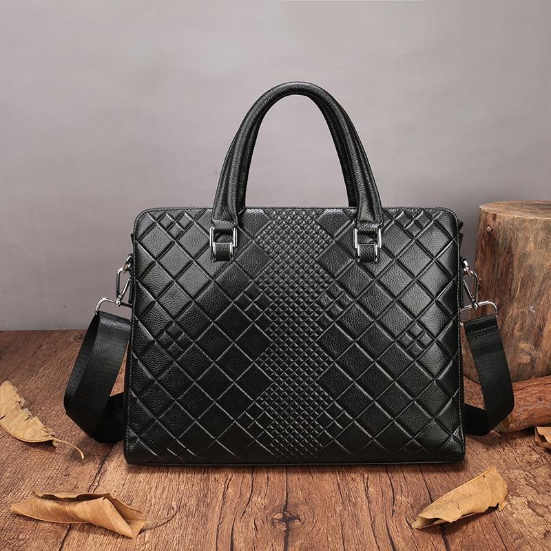 Leder Schicht Männer Handtaschen Fashion Black Erste Designer Natürliche Plaid Echtes Marke Kuh Aktentasche Luxus 40Wxw6pqRX