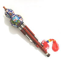 Chinese Traditional Instrument Hulusi With Cloisonne Gourd Cucurbit Flute Rosewood Pipe Musical Instrument Key of C Bb Tone F08