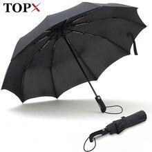 TOPX 2018 Neue Große Starke Mode Winddicht Männer Sanfte Falten Kompakt Voll Automatische Regen Hohe Qualität Pongee Regenschirm Frauen
