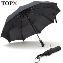 TOPX 2018 New Big Strong Fashion Windproof Men Gentle Folding Compact Fully Automatic Rain High Quality Pongee Umbrella Women