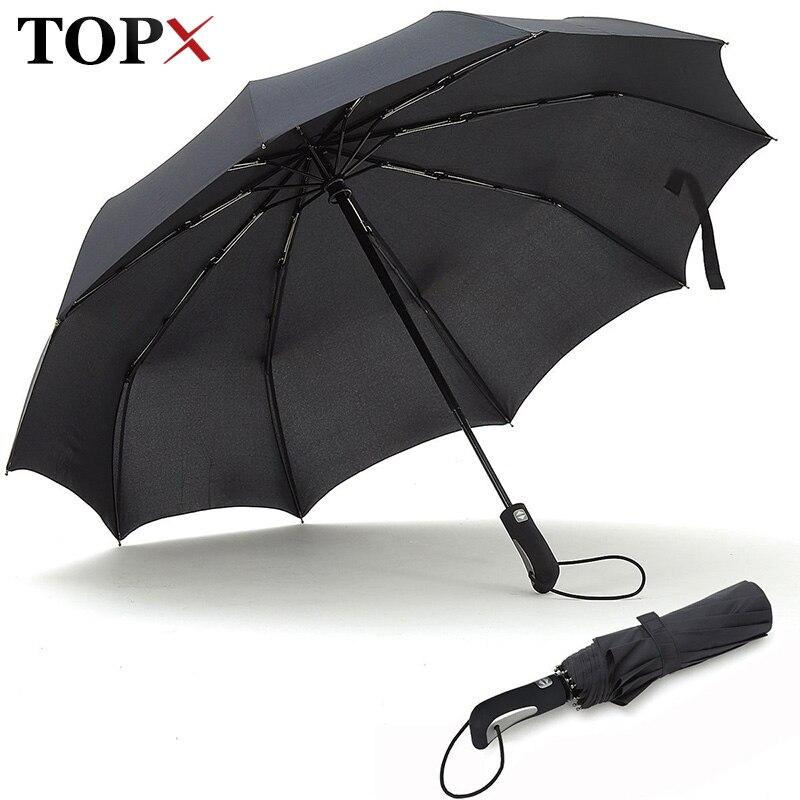 TOPX 2018 nuevo fuerte de moda a prueba de viento de los hombres suave plegable completamente automática compacta de lluvia de alta calidad Pongee paraguas de las mujeres