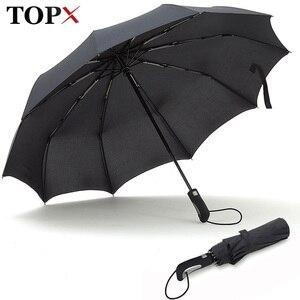 Image 1 - TOPX 2018 yeni büyük güçlü moda rüzgar geçirmez erkekler yumuşak katlanır kompakt tam otomatik yağmur yüksek kaliteli Pongee şemsiye kadın