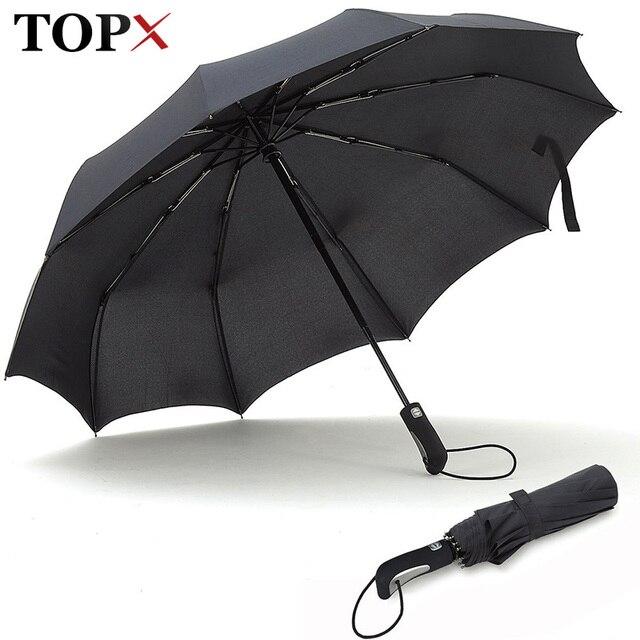 TOPX 2018 yeni büyük güçlü moda rüzgar geçirmez erkekler yumuşak katlanır kompakt tam otomatik yağmur yüksek kaliteli Pongee şemsiye kadın